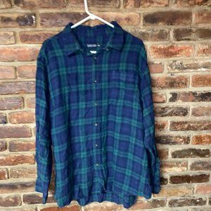 Faded Glory Blue Green Plaid Flannel Button Down